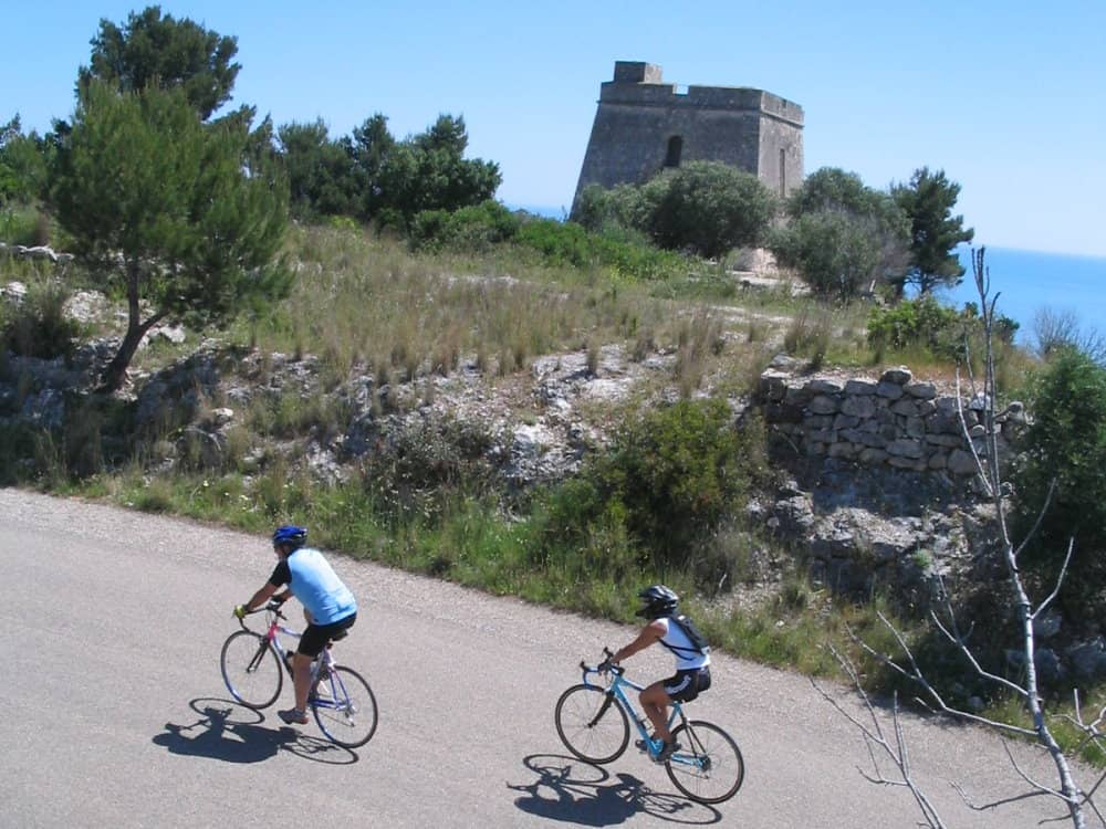 Cyclist along the adriatic coast